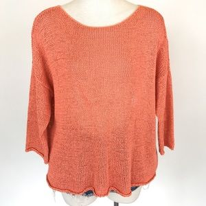 Eileen Fisher size M orange loose knit pullover